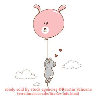 bunny, balloon, flying, stock, image, vector, art,