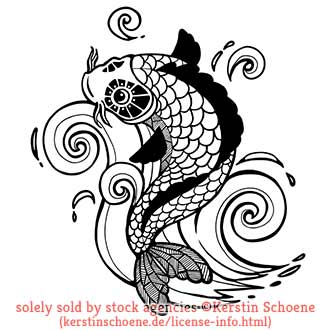 fisch, splash, lineart, vector, tattoo,