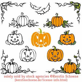 pumpkin, halloween, vector, stock, set, collection,